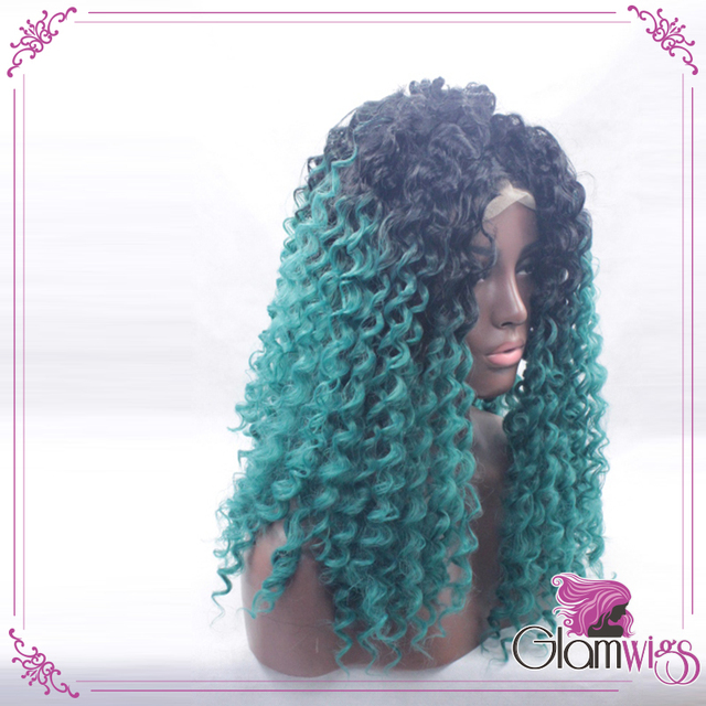 Most Popular In 2016 Ombre Blue Kinky Curly Hair Lace Wig Ombre Black To Blue Color Deep Curly Synthetic Hair Lace Front Wigs