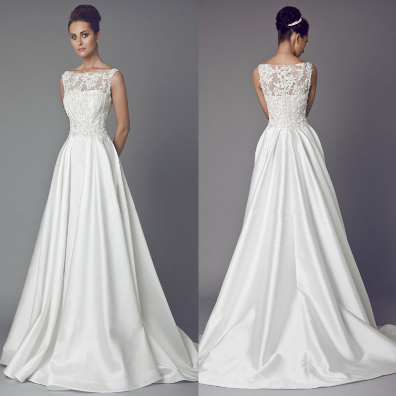 Tony ward wedding dresses 2015 new daisy sleeves gowns for Daisy lace wedding dress