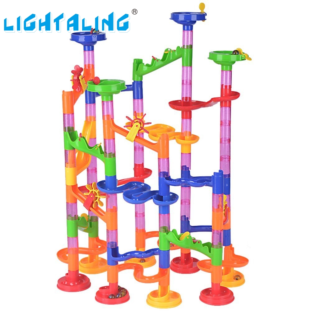 Lightaling 105pcs DIY Construction Marble Run Intellect Tracks Game Maze Balls Toys Puzzle Educational Kids Gift 3d magical coin intellect maze ball kids amazing balance logic ability toys educational iq trainer game for kids chirstmas gifts