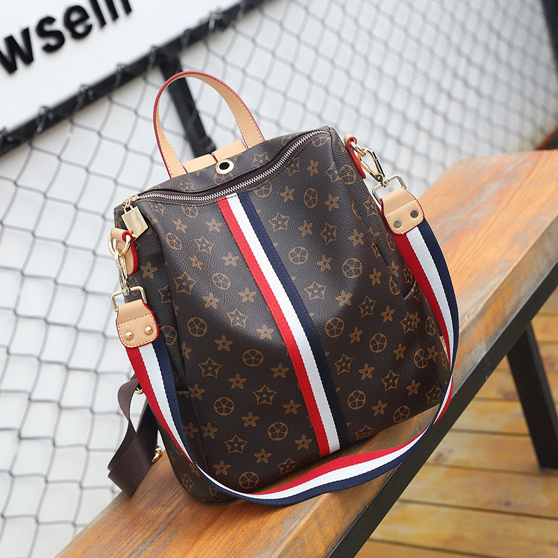 Multi-functional backpack south Korean version 2018 new style personalized ribbon fashion trend print backpack Classic Retro bag