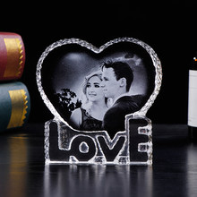 Personalized Crystal Photo Frame Romantic Love Heart Laser Engraved Picture Frame Wedding Photo Album Customized Souvenir Gift(China)
