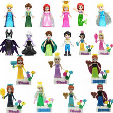 Figurine Princess Prince Anna Elsa Mermaid Cinderella Rapunzel Belle Merida Maleficent Figurines Toys for Children Legoings(China)