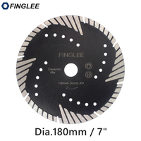 1Pc FINGLEE 180mm/7inch Diamond Cutting Saw Blade,Turbo Teeth Slant Protection Cutting Disc for Concrete, Marble Granite Stone
