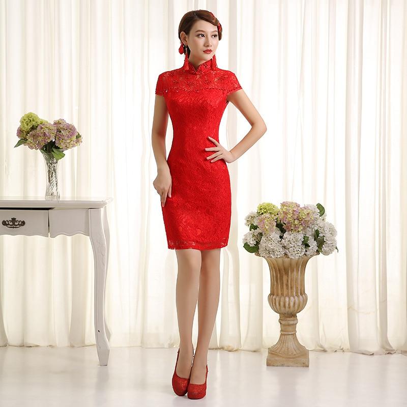 أحمر الدانتيل قصيرة شيونغسام اللباس التقليدي الصيني المرأة الحديثة حفلة موسيقية تشيباو البسيطة مثير رداء orientale vestido تشاينا باو yyqo