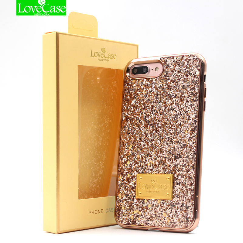 LoveCase 2 in 1 wrap fall für iphone 6 s 7 8 Plus fall gleam blink frauen rückseite fall für iphone 7 Plus 8 Plus abdeckung fundas