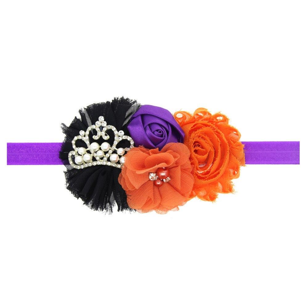 1pcs chiffon flowers halloween hair headbands for hair crown pumpkin
