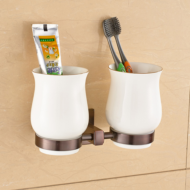 Wall Mounted Cup Tumbler Holders double Glass Cups ORB oil rubbed