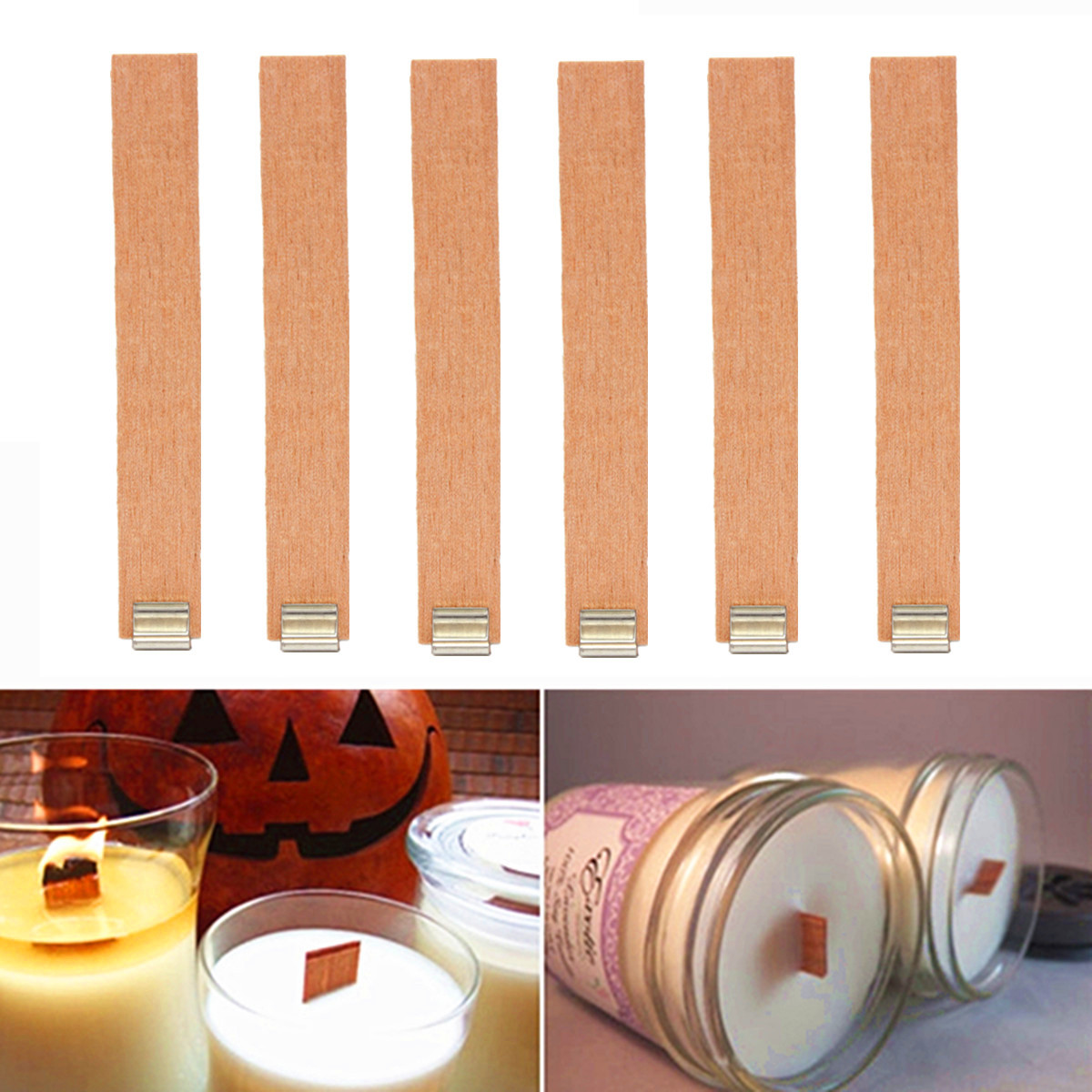 Wooden Candle Wicks Diy: 50PCS DIY Candle Making Wooden Candles Wick With Sustainer