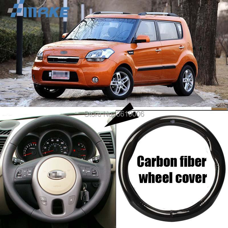 smRKE Car Accessories For Kia Soul Black Carbon Fiber Leather Steering Wheel Cover Sport Racing Car Styling