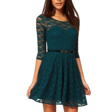 Fashion Lady Dress Elegant Women Dress Sexy O-Neck 3/4 Sleeve Belt Include Lace Colorful Solid Color Dress