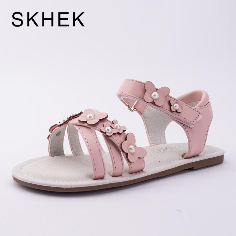 SKHEK  Girls Sandals Summer Fashion Flowers Flat Shoes Princess childrens