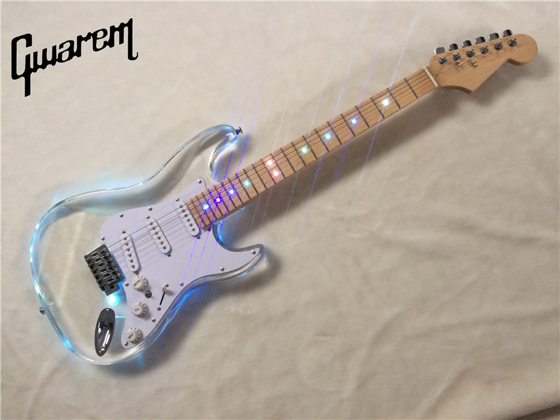 Electric guitar/Gwarem new st Colorful LED guitar/Acrylic body/clear color/guitar in chi ...