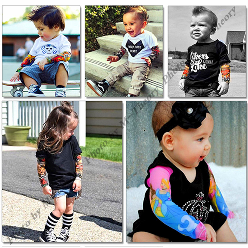 M-theory 1pcs Kid Size Sleeve Arm Tattoos Stockings Leggings Henna 3D Temporary Rocker Body Arts Biker Makeup Tools