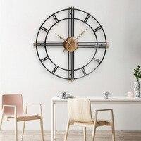 Большие металлические настенные часы современный дизайн для гостиной европейские винтажные Ретро римские часы железная художественная Ст