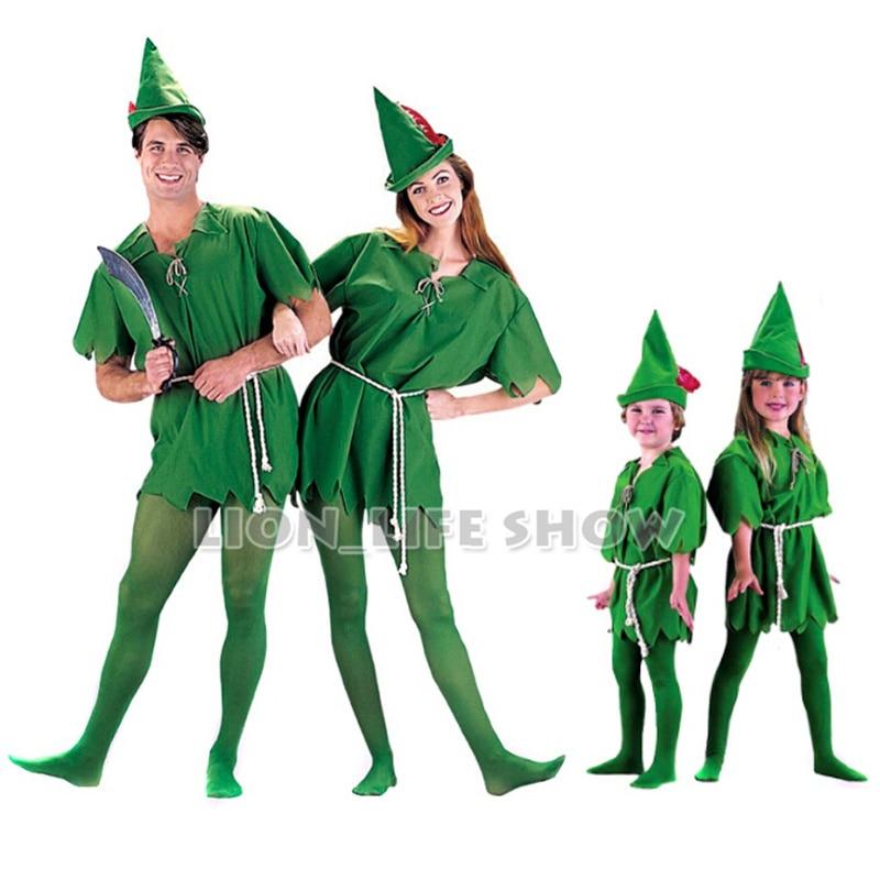 Free Shipping Kids Adult Peter Pan Costume Halloween Costume for Men Women