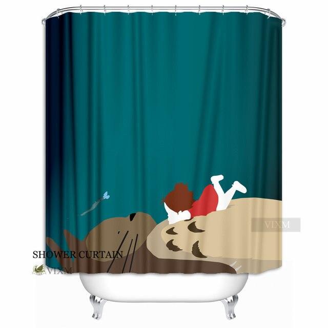VIXM Japanese Anime My Neighbor Totoro Fabric Shower Curtain Cute Animal Blue Cat Bath For Bathroom