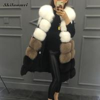2018 Winter Warm Faux Fur Vest for Woman Casual Contrast Color Mid Long thicken Female Outwear Fake Fur Overcoat