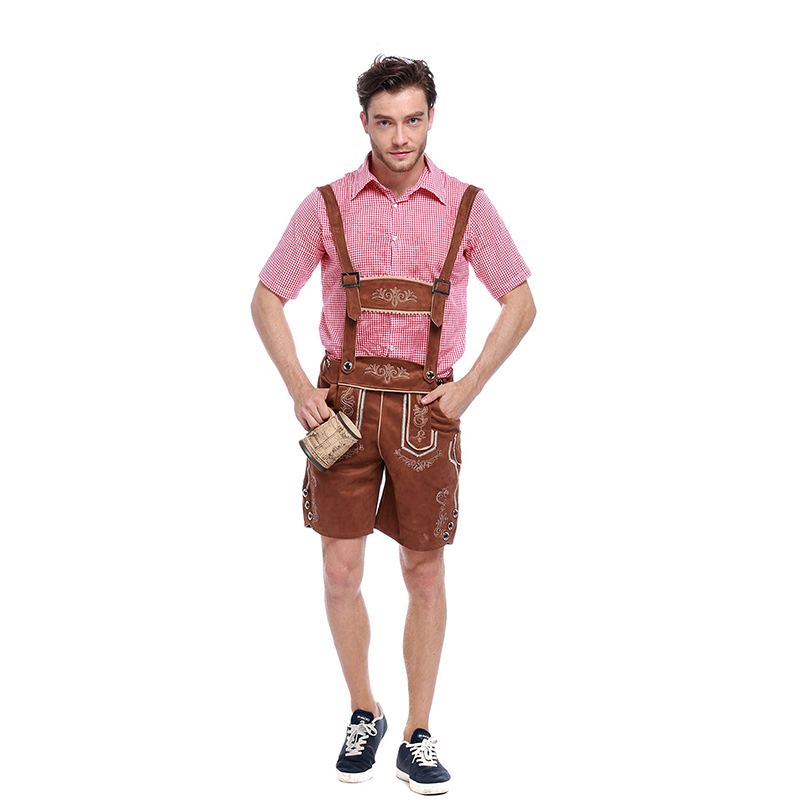 Top Quality Genuine Leather German Beer Man Costumes Adult German Bavarian Oktoberfest Costume Men Halloween Cosplay Costumes