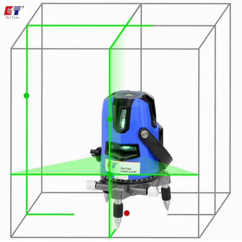 Kaitian зеленый лазерный приемник уровня 3 линии 4 точки самонивелирующийся горизонтальный и вертикальный крест мощный 532нм Нивель Лазерная линия