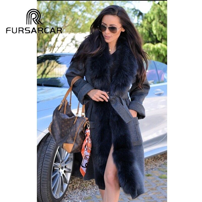 110 Manteau Gray Luxe Avec Fourrure Femmes Véritable Femme Cachemire Long Fursarcar Cm En Renard Col De Élégant fXHa5wwx