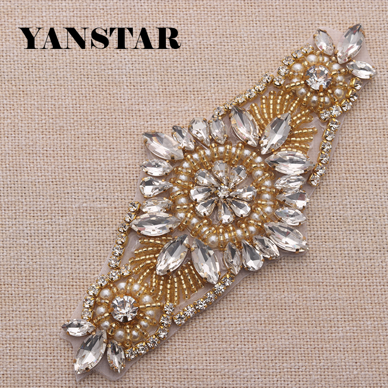 YANTAR 1PCS Hand Rhinestones Appliques With Beads Sewing On Wedding Dresses Belt Rhinestones Appliques Pearl Accessory YS861