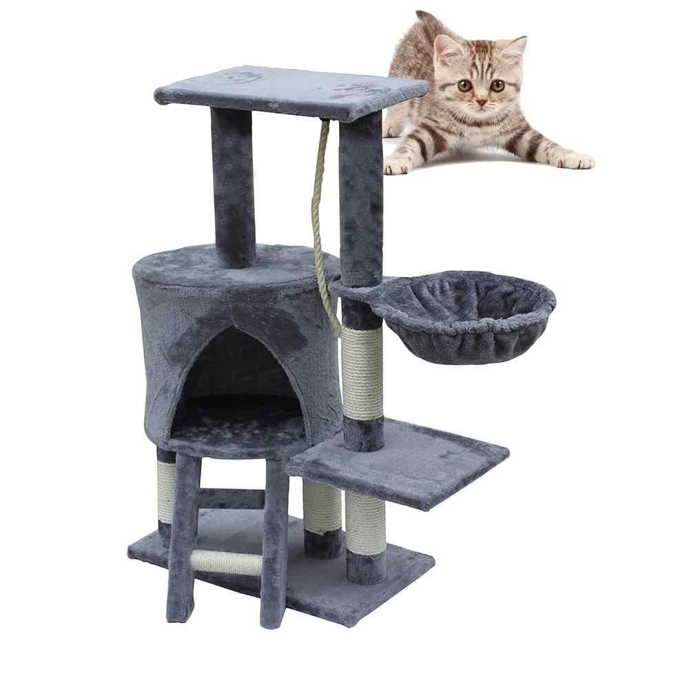 Hobbylane 96cm Cat Climbing Frame Wooden Cat Scratching Post Tree Scratcher Pole Furniture Gym House Toy Cat Jumping Platform