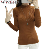 2017 Fashion Women Sweaters Turtleneck Knitted Sweater Female Knitted Pullover Ladies All Match Basic Thin