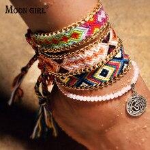 99656d9f3f0f Luna chica 2 piezas OM runas tejidas tobilleras para mujer cuentas de  cristal hecho a mano pulseras tobilleras de algodón Mujer .