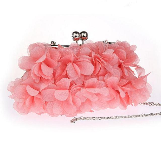 2017 Velour Petal Clutch bag Handbag Fashion Flower Evening Bags Wedding Bridal Day Clutches Purse Shoulder Bag ZD510