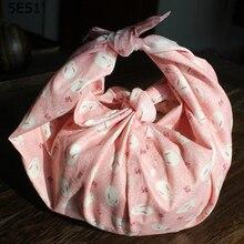 Платок в японском стиле, косынка из фурошики, хлопок /с принтом 48 см(+-1 см)/сотни случайных цветов/много видов использования