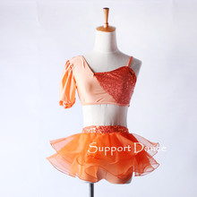 Girls 2-Piece Irregular Sequin Tutu Ballet Dress Children Adult Orange Professional Dance Costume C342