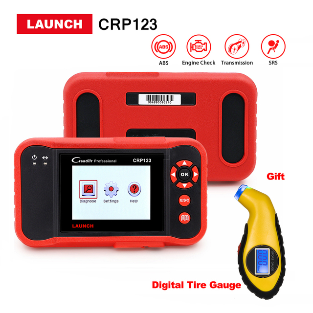 LAUNCH Creader CRP123 Code Reader scanner Support ENG/ABS/SRS/AT CRP 123 Diagnostic Tool Digital tire gauge as gift free update