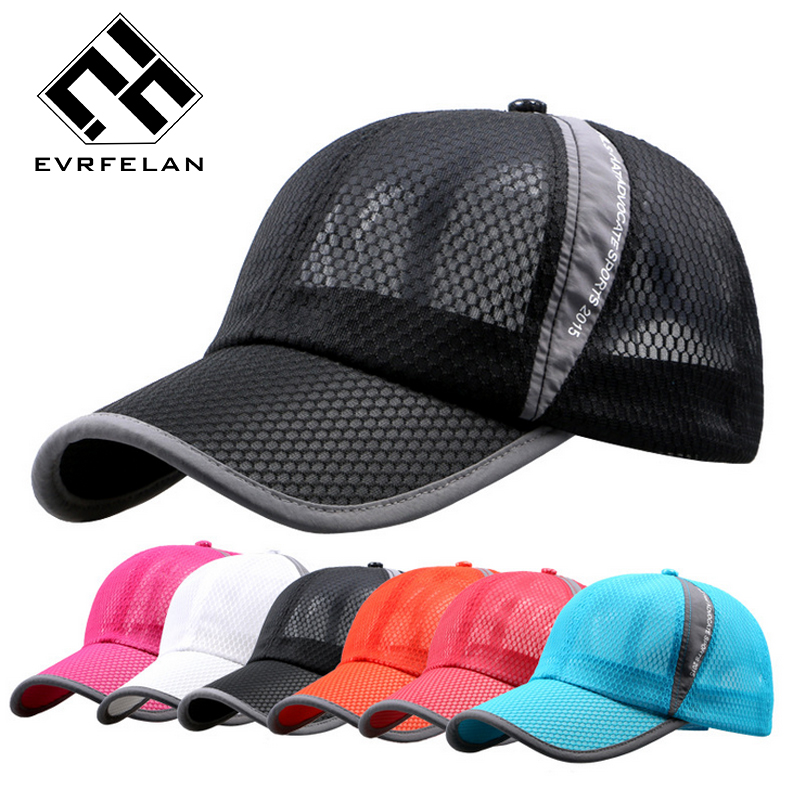 b97169ec4ea Evrfelan Summer Baseball Cap Hat For Women Men Unisex Mesh Cap Breathable  Fashion Snapback Hat Bone Golf Cap Men Sport Brand Hat