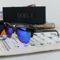 Dokly Real Mirror and Polaroized Sunglasses Men and women polarized sunglasses Semi-Rimless Sun Glasses eyewear Oculos De Sol