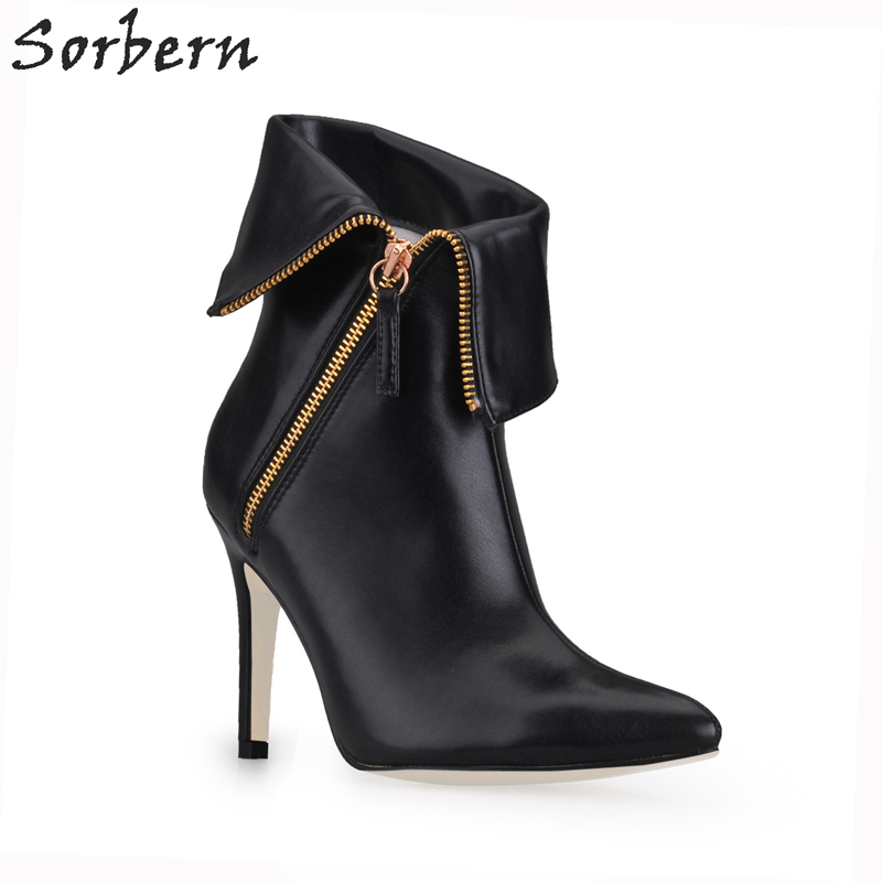 Sorbern Custom Color Pointed Toe Women Boots High Heels Stilettos New 2018 Warm Winter Shoes Ladies Size 43 Ankle Boots