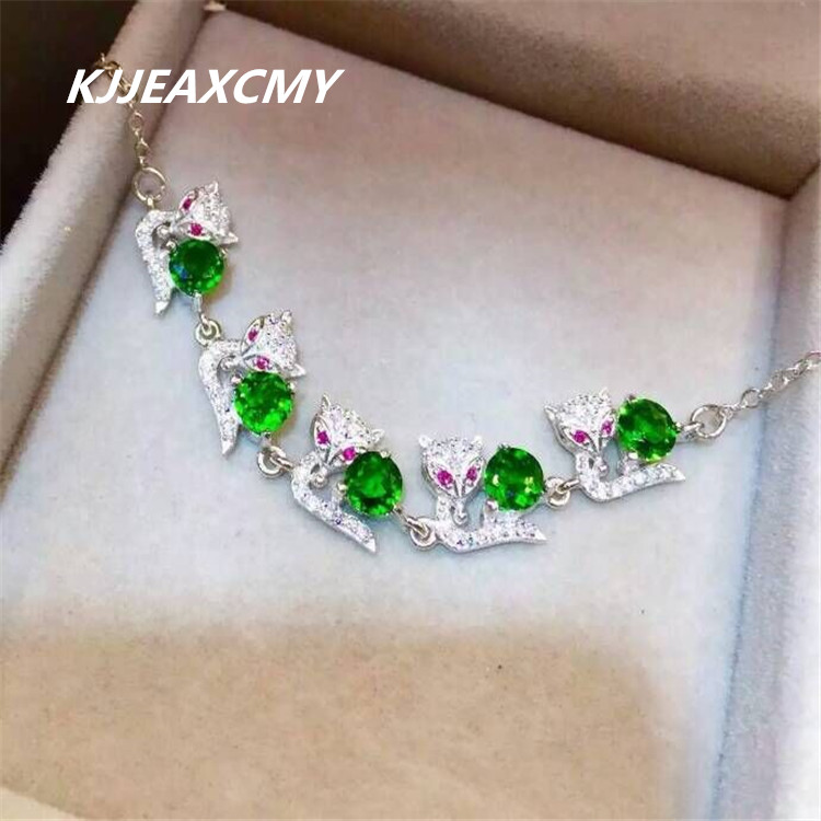 KJJEAXCMY Fine jewelry 925 Sterling Silver with natural diopside stones inlaid jewelry bracelet a cat kjjeaxcmy fine jewelry sterling silver 925 sterling silver natural jasper ladies bracelet inlaid jewelry natural jewelry