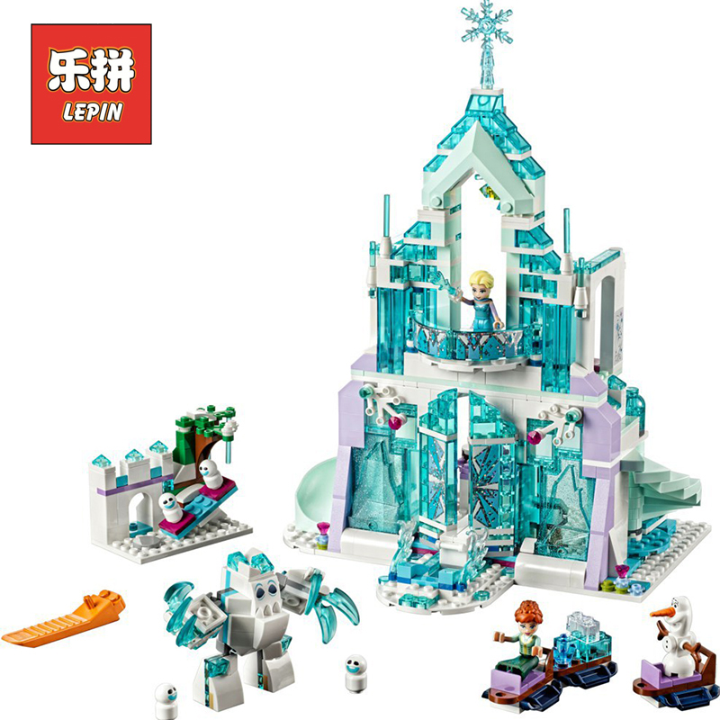 Lepin Sets Friend Figures 25002 731Pcs Princess Elsa'S Magical Ice Palace Model Building Kits Blocks Bricks Girl Toys Gift 41148 lepin 25002 731pcs the snow world series the elsa s magical ice castle set building blocks bricks toys girl with gifts 41148