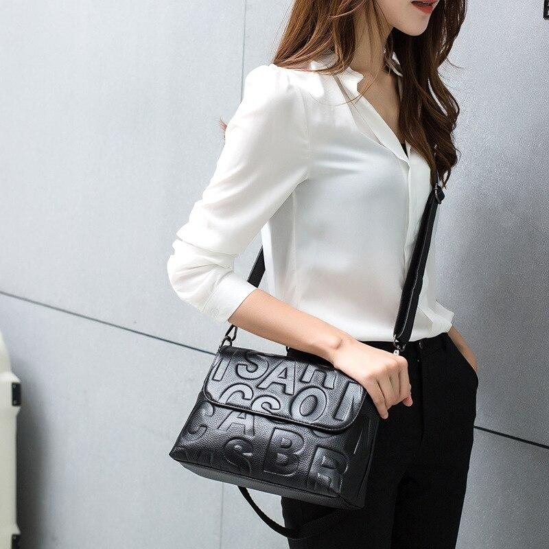 GenuineLeather Ladies Handbag Summer Sailor Moon  Black Luna Letter Pattern Shoulder Bag  Wom en Messenger Crossbody  Bag