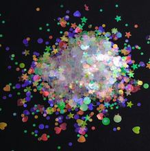 50 g Nail Flakes 3D DIY laser transparent Sequins/ Heart star shaped glitter flakes for nail design UV gel resin polish
