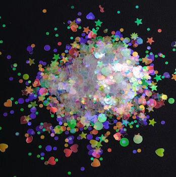 50 g Nail Flakes 3D DIY laser transparent Sequins/ Heart star shaped glitter flakes for nail design UV gel UV resin nail polish