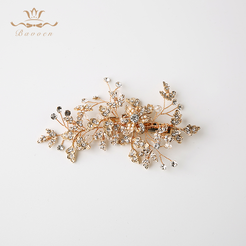 Vintage Gold Hair Comb Bridal Hairpins Leaf Wedding Hair Accessory for Woman Evening Hair Jewelry