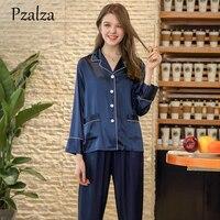 Victori Autumn Faux Silk Pajamas Blue Pink Long Sleeve+Bottoms Pants Ladies Women Pajamas Set Silk Sleepwear Women's
