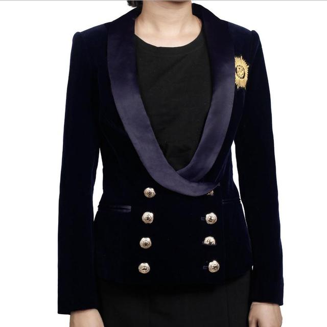 Double breatsed metal buckle Europe station new corduroy velvet blazer 2017 female ladies short coat badge pattern BLAZER w1296