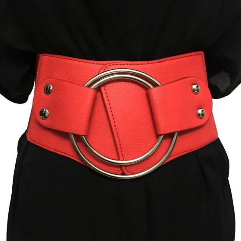 Vintage Wide Waist elastic   Belts   for Women Stretchy Corset Waistband Hollow Metal big ring Women's   Belt   exaggerate Cummerbund