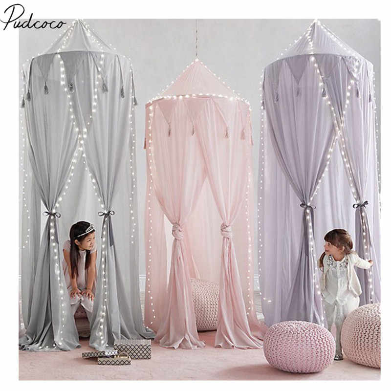 2018 Brand New Newborn Kid Baby Bed Canopy Bedcover Mosquito Net Curtain Bedding Round Dome Tent Cotton Bed Canopy + Accessories