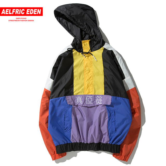 Aelfric Eden Hip Hop Patchwork Pullover Hooded Jacket Men Embroidery 2018 Autumn Oversize Harajuku Windbreaker Male Outwear NC06