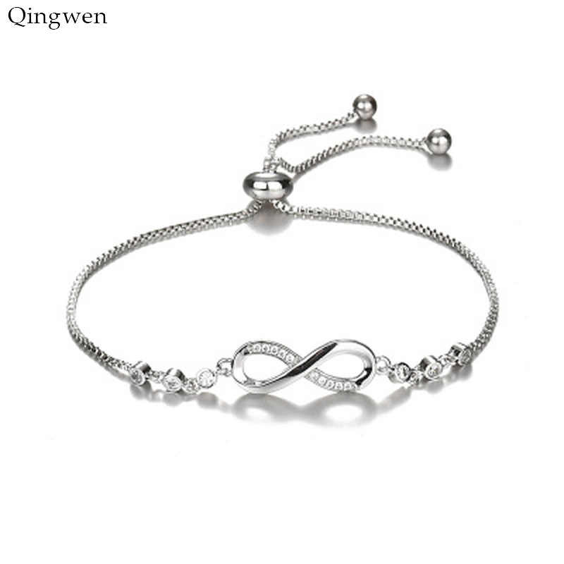 Qingwen 2019 New Arrivals Korean Hot Fashion Simple Metal 8 Infinity Charm Bracelets for Women & Men Jewelry Summer Style Beach