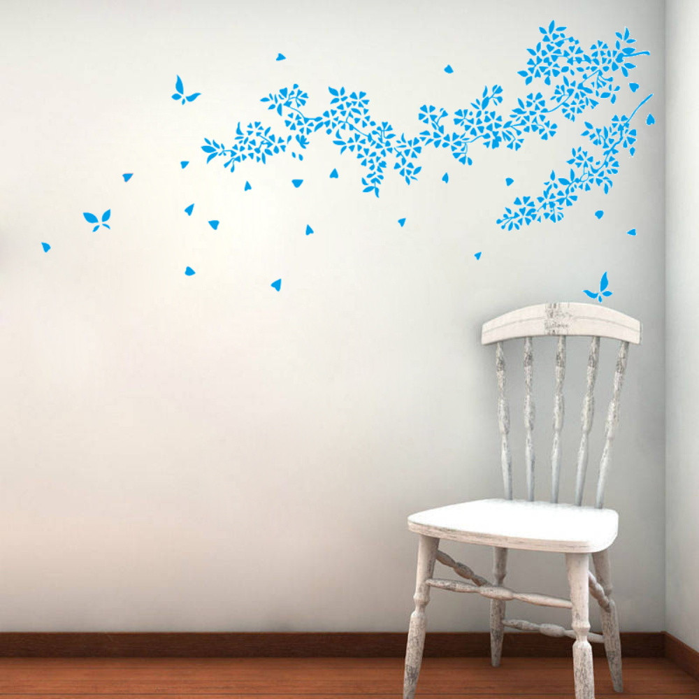 online get cheap blue wall decor aliexpress com alibaba group blue flower solid finished size 190 86cm vine wall decor eliminating double sided pvc waterproofing wall stickers home decor
