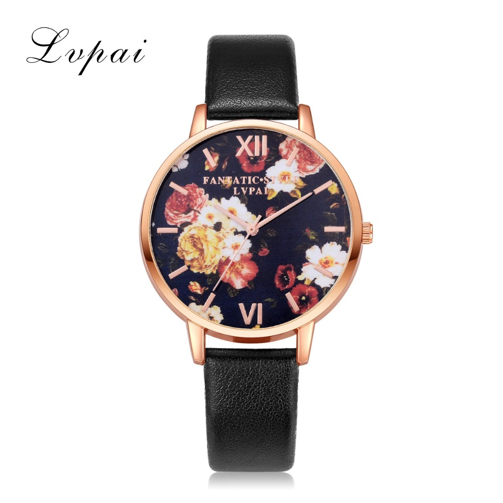 Lvpai Brand 2017 Hot Sale Flower Quartz Fashionable Women Watch Rose Gold Alloy Bracelet Wristwatch Business Clock LP158