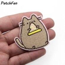 A0115 patchfan 20 шт./лот Kawaii животное, мультяшная кошка нашивка на одежду вышитый значок для девочек с героями мультфильмов, одежда